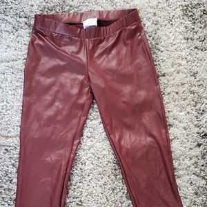 GUESS maroon faux leather pants. XS
